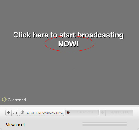 Blogtv Webcam: Click on 'Start Broadcasting NOW' text link.