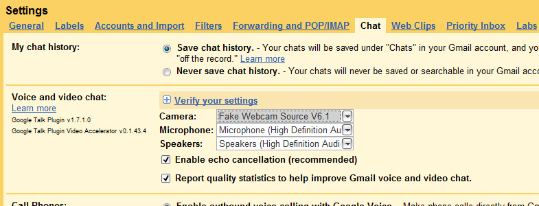 Gtalk Webcam: 3 - From 'Voice and video chat' section, select 'Fake Webcam Source' from dropdown list and click 'Save' button