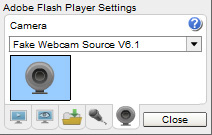 Ivideochat Webcam: 3 - Select 'Fake Webcam Source V6.1' from the dropdown list and then click 'Close'.