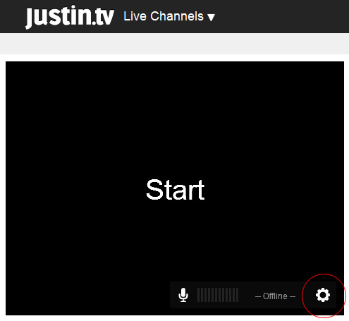 Justintv Webcam: 3 - Click on 'Settings' icon.