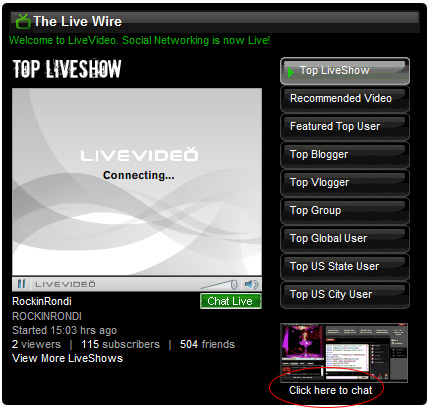 Livevideo Webcam: 2 - Click on 'Click here to chat'.